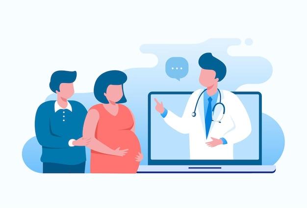 임신 온라인 상담 평면 벡터 일러스트 배너 템플릿