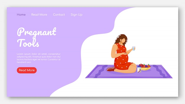 Pregnant tools landing page vector template. therapy and healthy nutrition website interface idea with flat illustrations. pregnancy healthcare homepage layout landing page