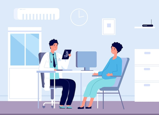 Беременная женщина и врач. кабинет гинеколога, консультации беременных в гинекологии. пренатальный осмотр векторные иллюстрации. беременная женщина посещает врача, медицинское обслуживание