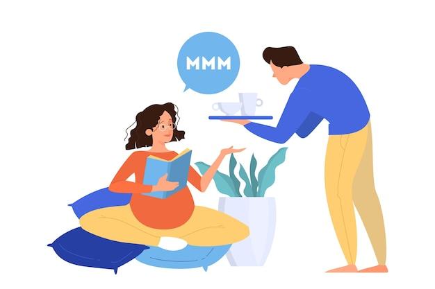 임신 한 여자와 그녀의 남편. 남자는 아내를 걱정합니다. 커플 기대 아기. 삽화