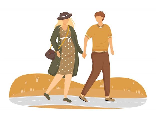 妊娠中の女性と公園の図を歩く男。家族は親子関係の準備をしています。白い背景の上の赤ちゃんの漫画のキャラクターの待っている散歩のカップル