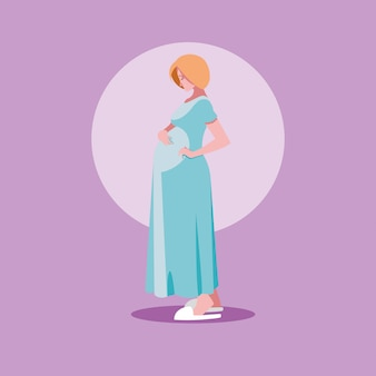 Pregnant woman avatar character icon vector ilustrate