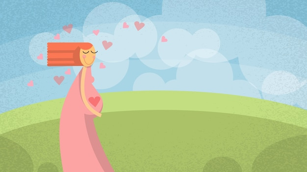 Pregnant woman cartoon mother new life banner