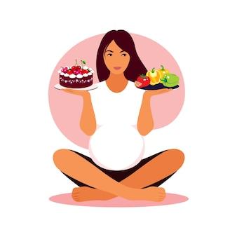 Pregnant woman chooses between healthy food or fast food. vector flat illustration