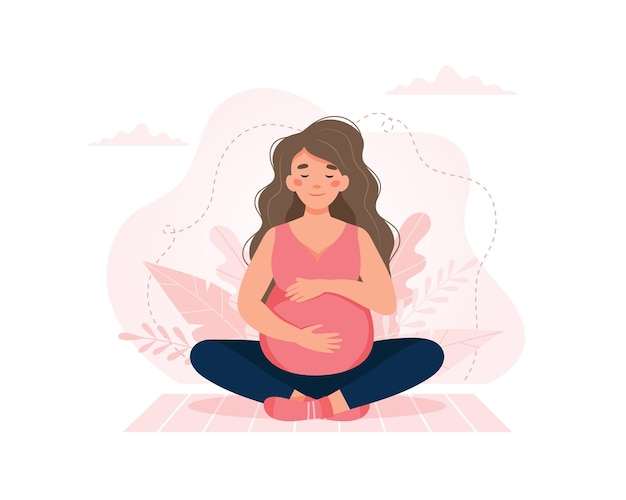 Pregnant woman, concept in cute cartoon style