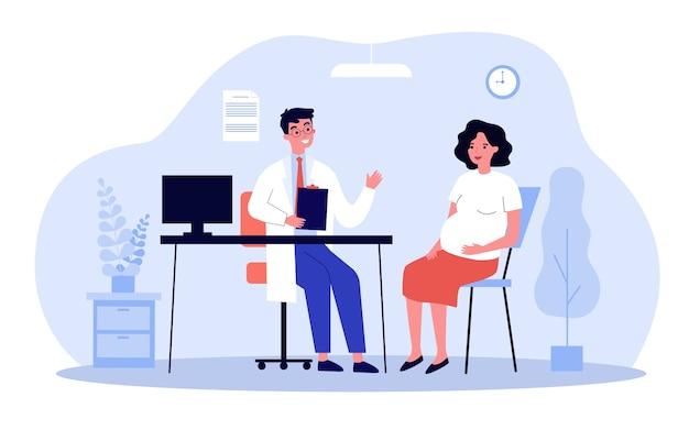 妊娠中の女性は彼のオフィスで医師に相談します。婦人科医が期待される患者と話しています。出生前のケア、検査、健康診断の概念図