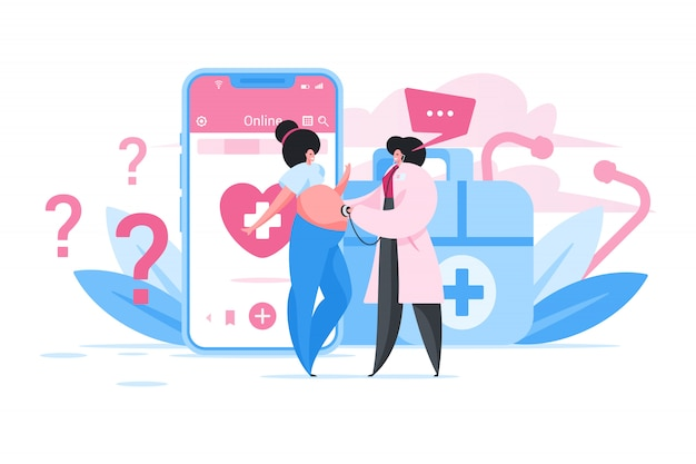 Pregnant woman consulting with doctor online. flat cartoon people illustration