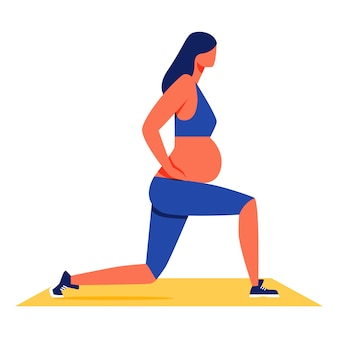 Pregnant woman doing fitness on white background.