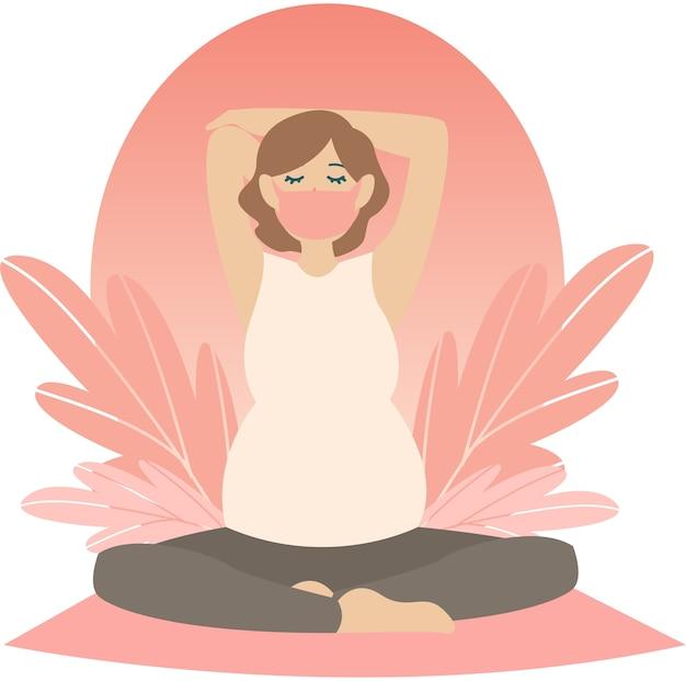 Pregnant woman doing pregnancy yoga at home illustration