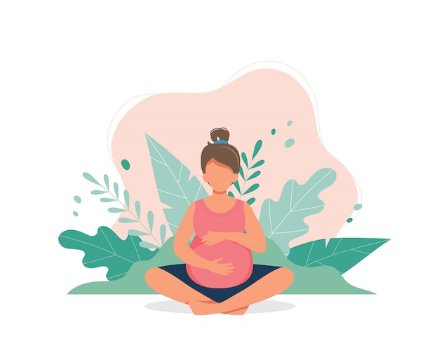 Pregnant woman doing prenatal yoga.
