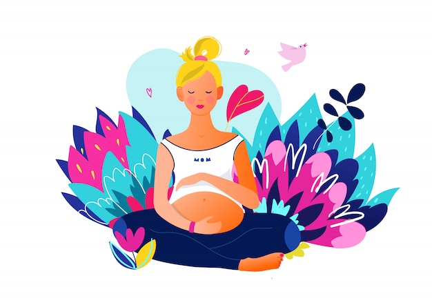 妊娠中の女性はヨガをやっています。アクティブなフィット感のある妊娠中の女性キャラクター。幸せな妊娠。妊娠中のヨガとスポーツ。フラット漫画