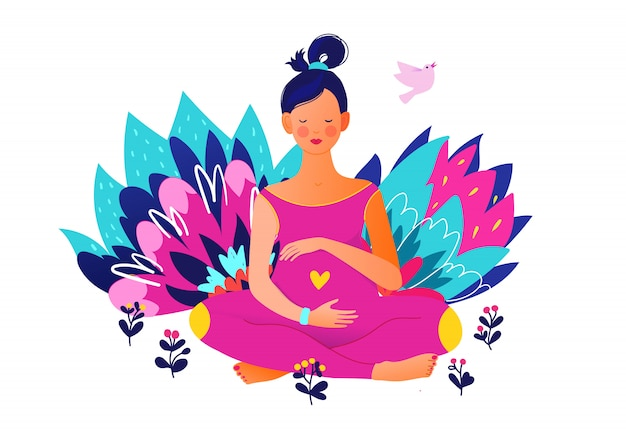 Pregnant woman doing yoga. active well fitted pregnant female character. happy pregnancy. yoga and sport for pregnant. flat cartoon