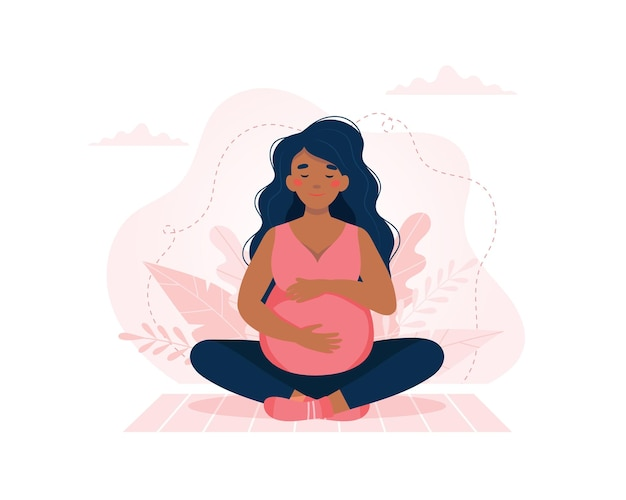 Беременная женщина занимается йогой. здоровье беременности, концепция медитации. векторная иллюстрация.