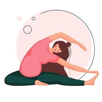 Беременная женщина занимается йогой. пренатальные упражнения. красивая беременная женщина сидит в асане. в плоский мультипликационный персонаж, изолированные на белом фоне.