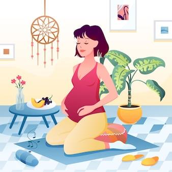 Беременная женщина делает упражнения йоги расслабиться