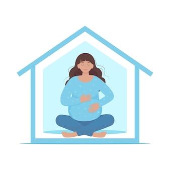 ヨガをしている妊婦。家にいるコンセプト。フラットスタイルで