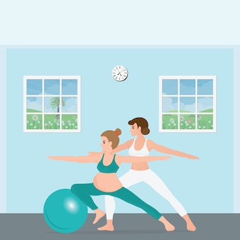 Pregnant woman doing yoga with a trainer.