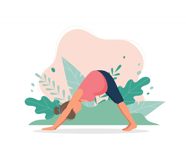 Pregnant woman doing yoga workout.