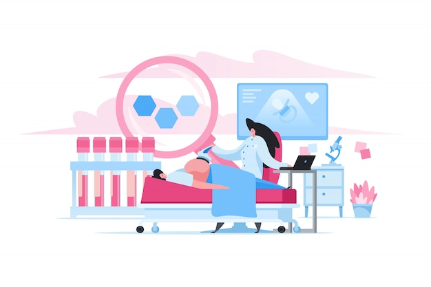 Pregnant woman during ultrasonic examination in clinic. flat cartoon people illustration