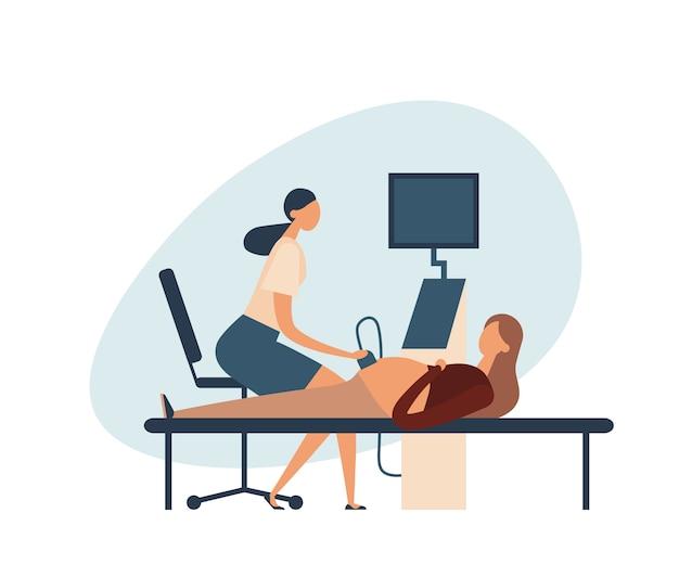Беременная женщина во время ультразвукового обследования. иллюстрация
