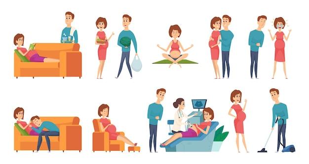 Беременная женщина. семейная пара ждет ребенка. муж жена повседневная деятельность векторные иллюстрации. семейная беременная пара, период беременности