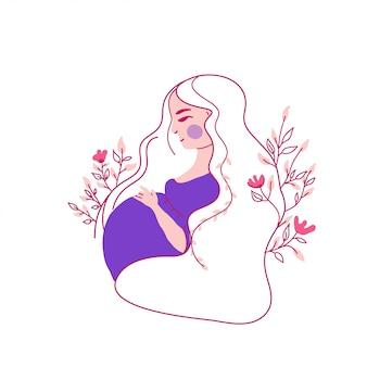Pregnant woman feeling baby kick character