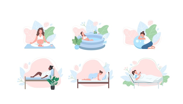 Pregnant woman flat color faceless character set