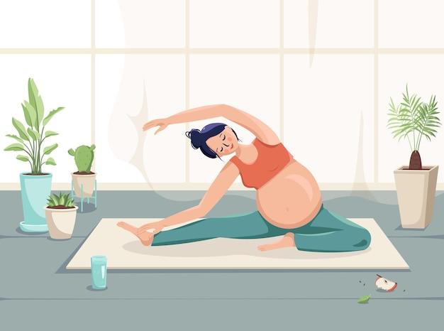 임산부는 꽃과 커튼이 있는 방에서 운동을 하기 위해 몸과 건강을 돌본다