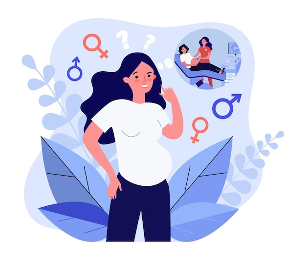 胎児の性別を推測する妊婦。フラットベクトルイラスト。超音波検査を考えて、赤ちゃんの性別を考えている若い母親。妊娠、出産、母性、医学の概念