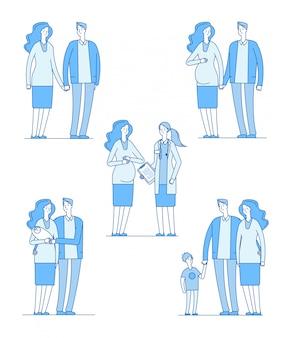 임산부. 건강 한 아기를 들고 행복 한 젊은 커플 어머니. 가족 임신 부모 아내 남편 의사 아이 라인 세트