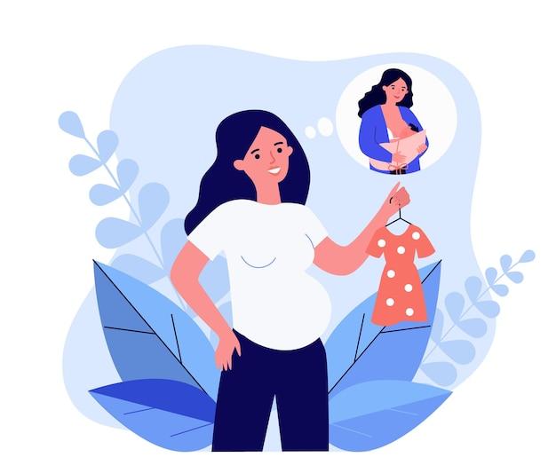 将来の子供のための服を保持している妊婦。ふきだしフラットベクトルイラストで新生児の女性の母乳育児。妊娠、バナー、ウェブサイトのデザインまたはランディングウェブページの母性の概念