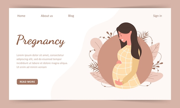 Pregnant woman holds her stomach and smiles. landind page template. modern flat style illustration isolated on soft background.