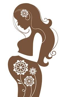 Беременная женщина в цветах