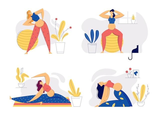Беременная женщина в позах йоги. молодая беременная мать занимается аэробикой. концепция материнства спорта здорового образа жизни. беременная девушка с тренировкой живота.