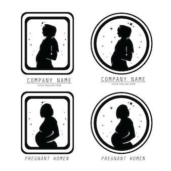 Pregnant woman logo collection set