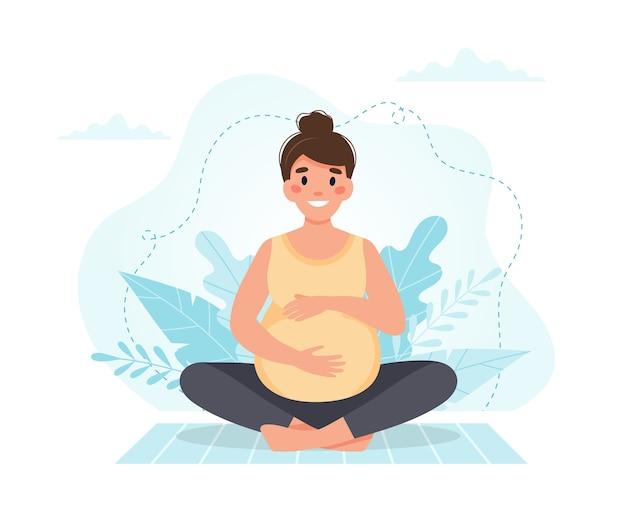 妊娠中の女性は瞑想します。
