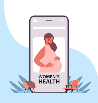 Pregnant woman patient on smartphone screen using mobile app online gynecology consultation healthcare service medicine