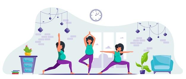 妊娠中の女性は自宅でヨガを練習しています。瞑想している妊婦。妊娠の健康の概念。フラットスタイルで。