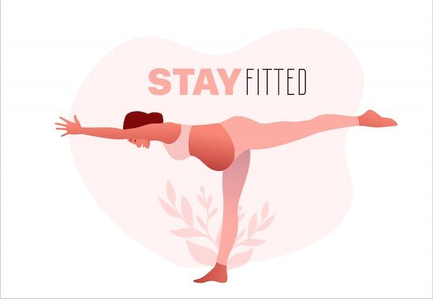妊娠中の女性は、ヨガの練習、ヨガのポーズを練習しています。ぴったりとフィットするタイプ。
