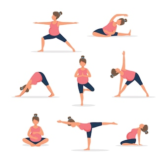 Pregnant woman practicing yoga, set of different poses.