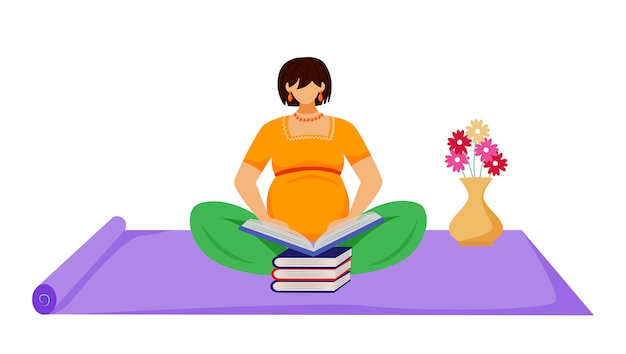 Pregnant woman reading book flat illustration. learning, maternity preparation. expectant mother sitting on floor with stack of books cartoon character on white background