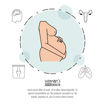 Pregnant woman silhouette in circle with icons around