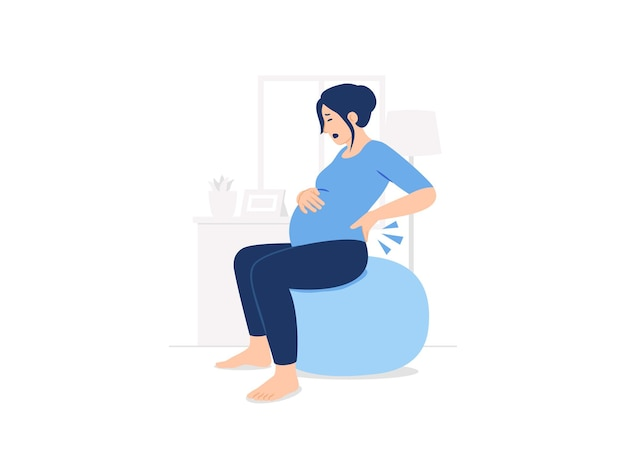 Беременная женщина сидит на фитнес-мяч для пилатеса, боль в пояснице, боль в спине, гинекология, иллюстрация концепции