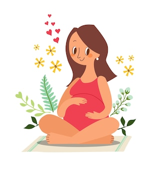 妊娠中の女性が座って彼女の大きなお腹に触れます。漫画キャライラスト。