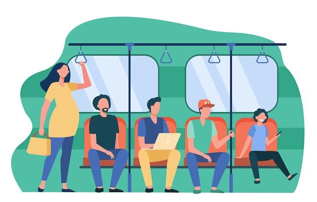 Беременная женщина, стоящая у невежливых пассажиров поезда метро. мужчины, сидящие на сиденьях плоские векторные иллюстрации. проблемы общества, общественный транспорт