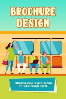 Беременная женщина, стоящая у невежливых пассажиров поезда метро. мужчины, сидящие на сиденьях плоские векторные иллюстрации