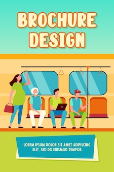 Pregnant woman standing by impolite subway train passengers. men sitting on seats flat vector illustration