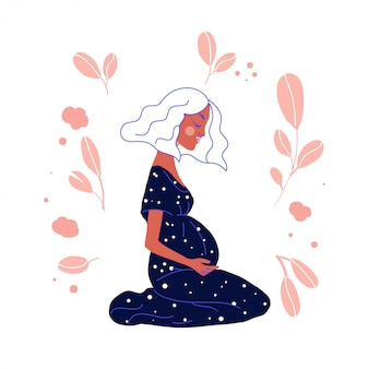 Pregnant woman vector illustration