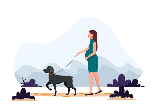 Pregnant woman walking the dog. healthy lifestyle, sport, exercising