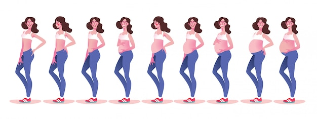 Pregnant woman with growing belly by months